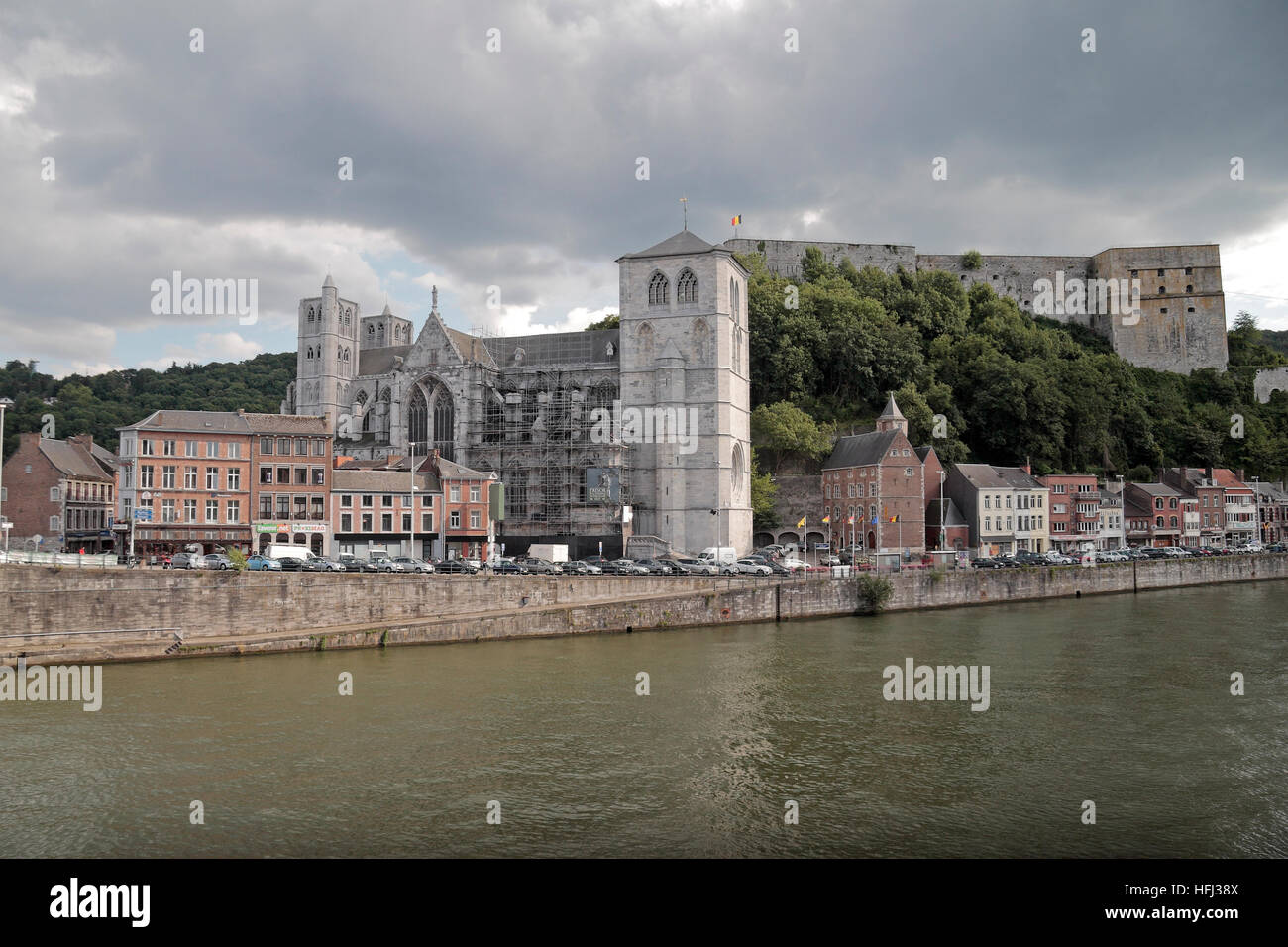 The Li Tchestia fort & Notre-Dame and St. Domitian, Huy, Walloon Region, Province of Liege, Belgium. Stock Photo