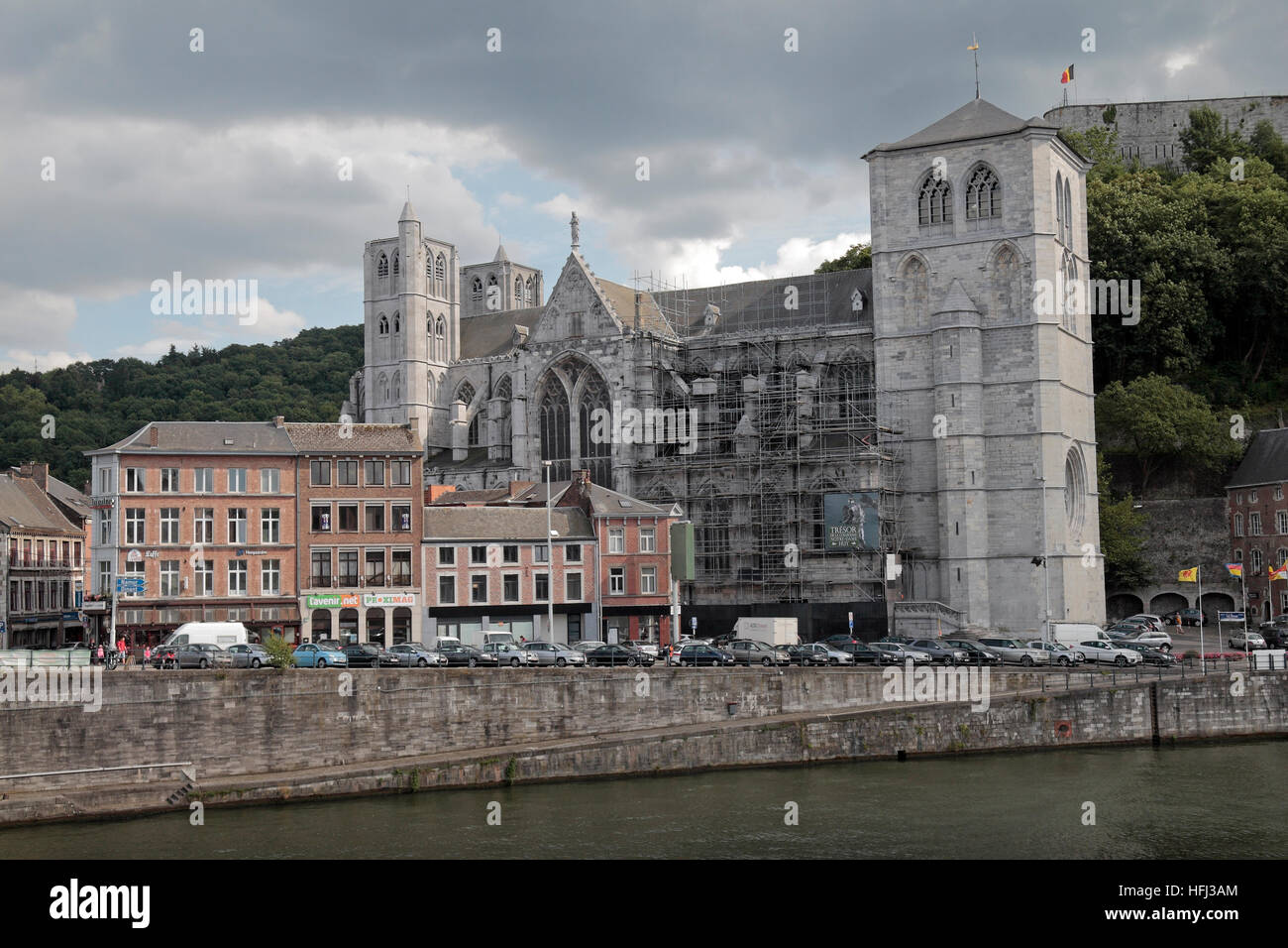 The Collégiale Notre-Dame et Saint-Domitien in Huy, Walloon Region, Province of Liege, Belgium. Stock Photo
