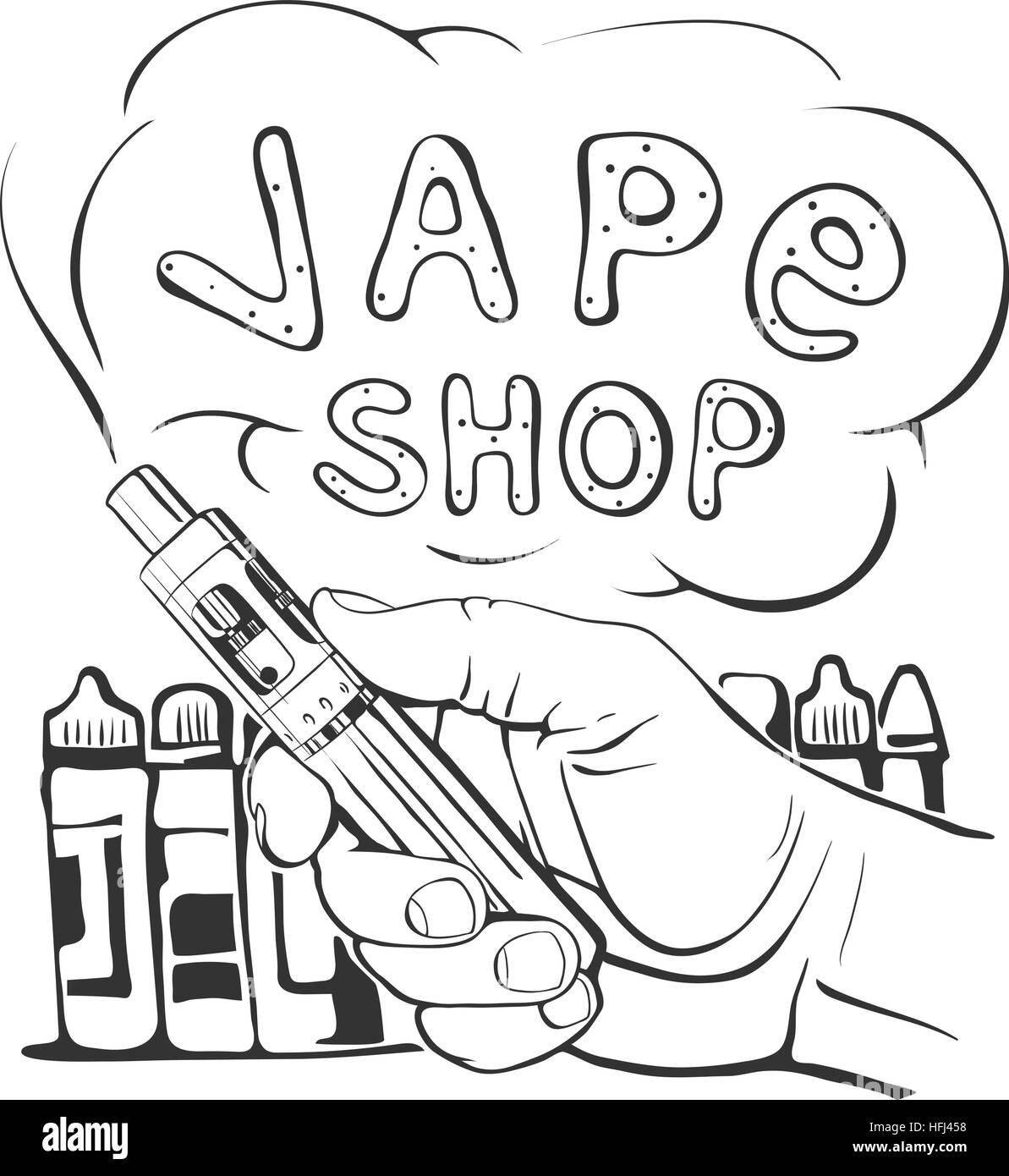 Vape Shop logo on a white background - Stock Image