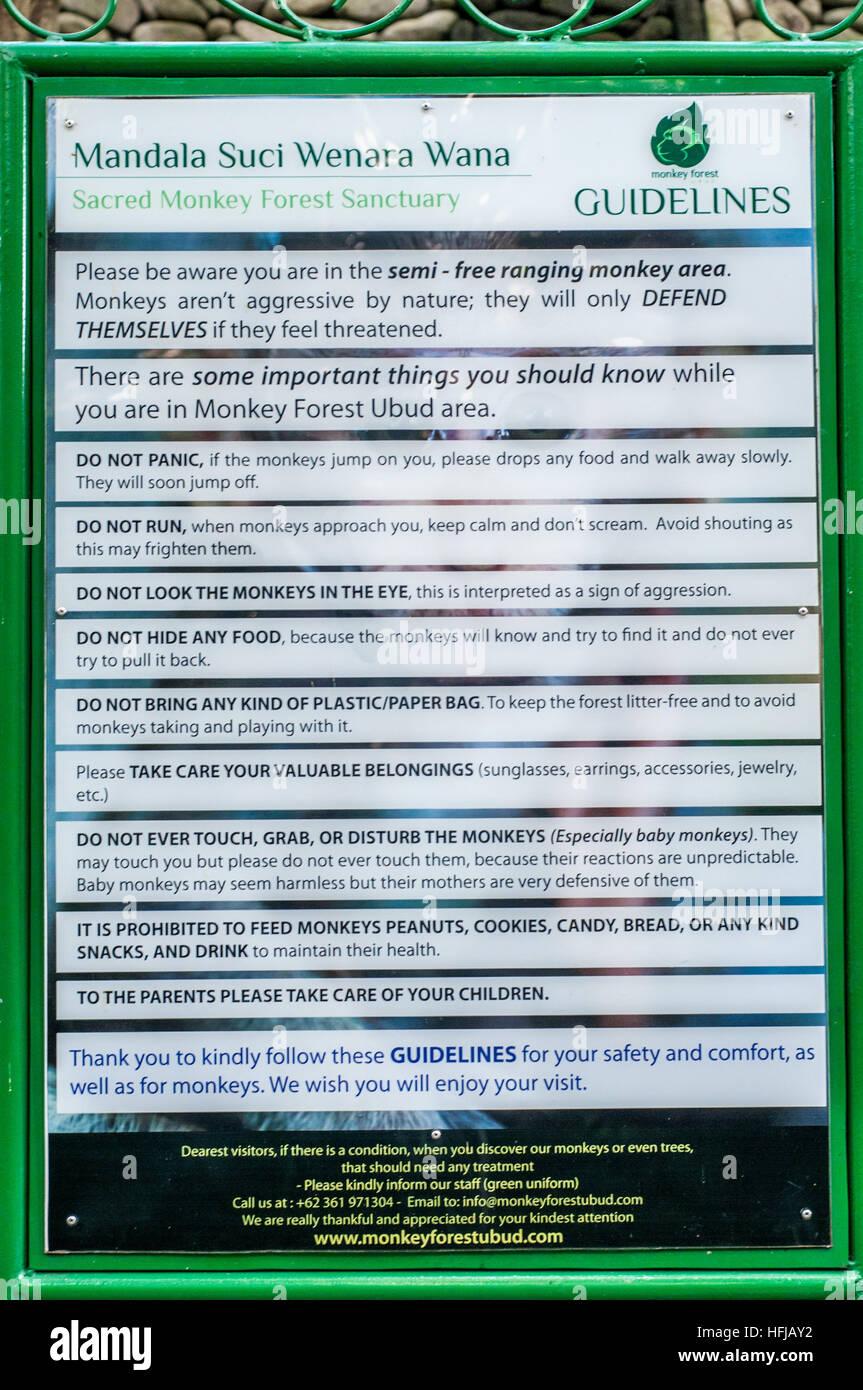 sacred Monkey forest guidelines - Stock Image