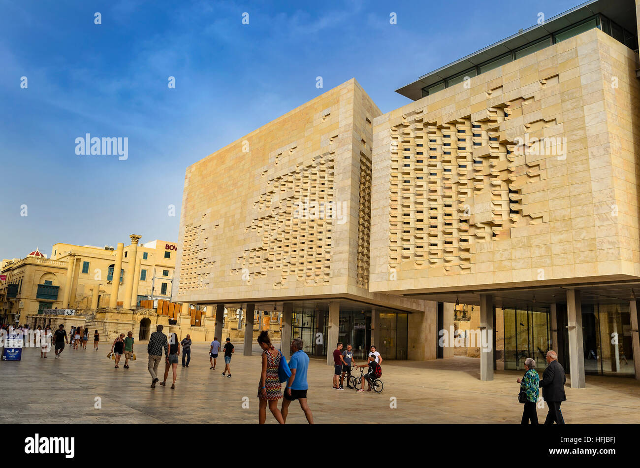 The new Parliament House of Malta. The building was constructed between 2011 and 2015 to designs by Renzo Piano - Stock Image