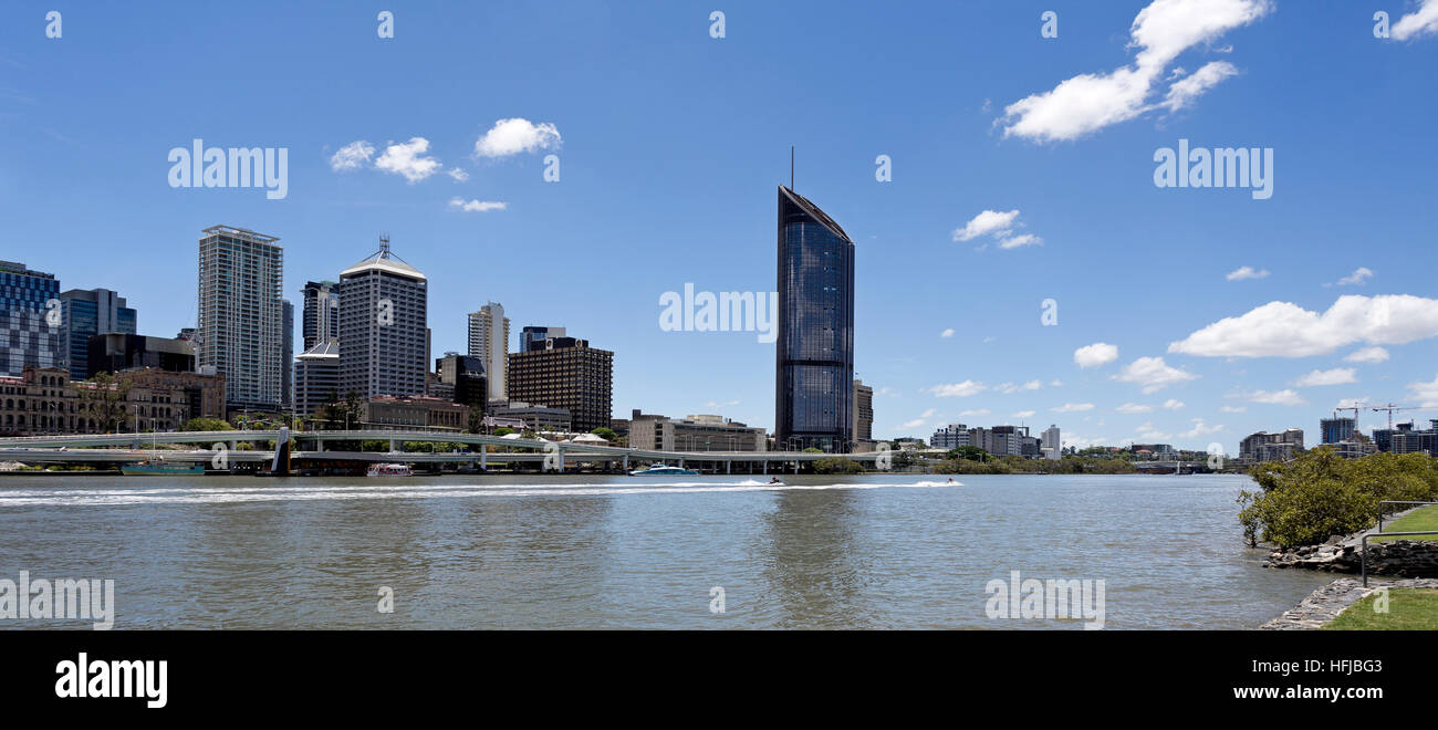 View of the Brisbane central business district seen from the Brisbane River in South Bank - Stock Image