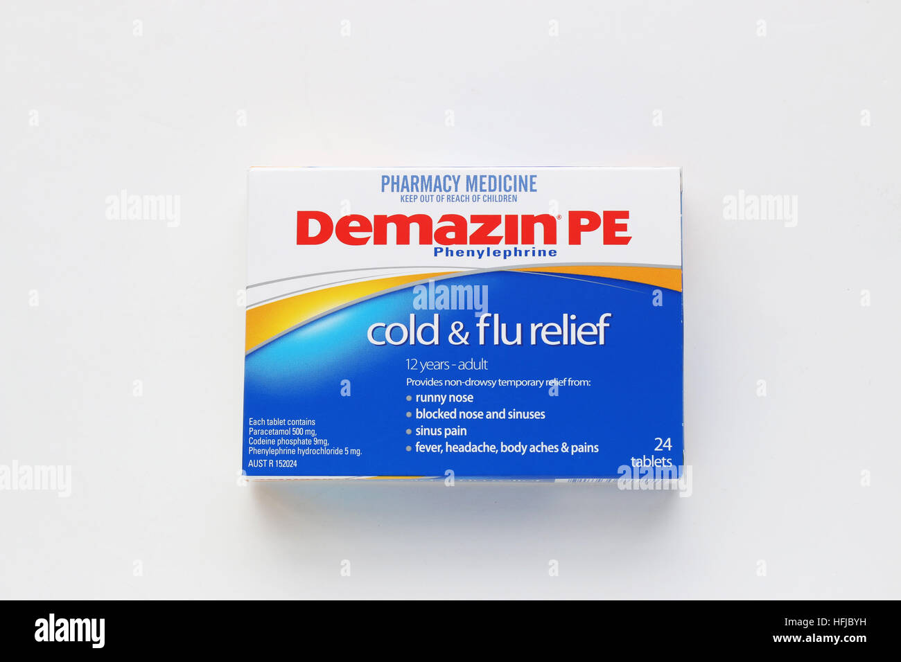 Demazin Cold and Flu Relief Tablet isolated against white background - Stock Image