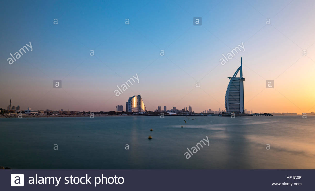 Dubai Jumeirah Beach and Burj Al Arab hotels, United Arab Emirates - Stock Image