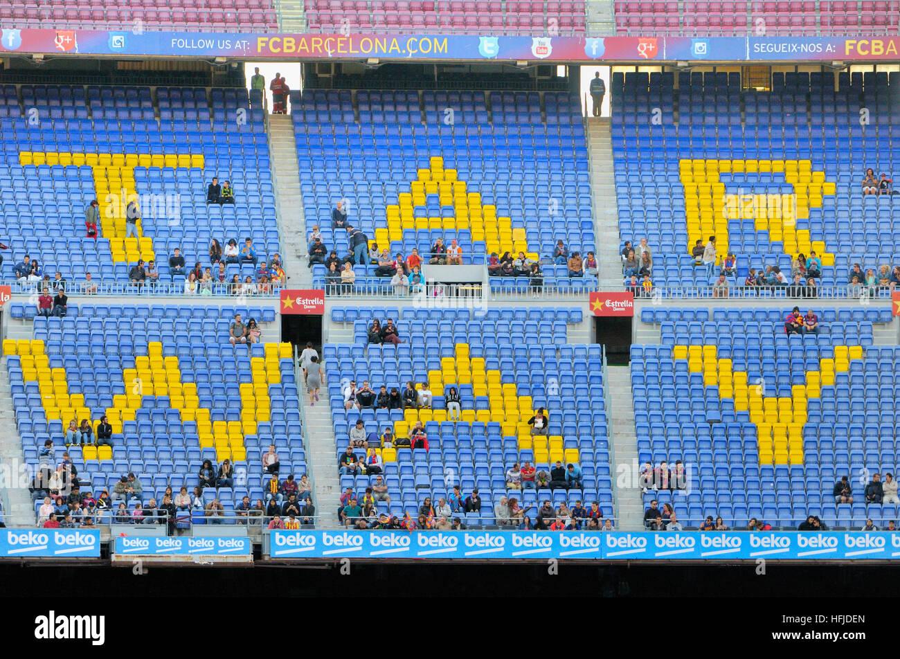 Camp Nou, Football club Barcelona stadium. Barcelona, Catalonia, Spain - Stock Image