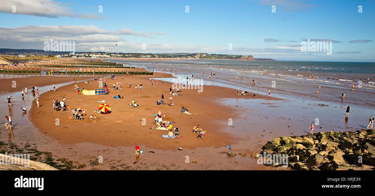A fine Summer afternoon on Dawlish Warren beach, Devon, England, UK. - Stock Image