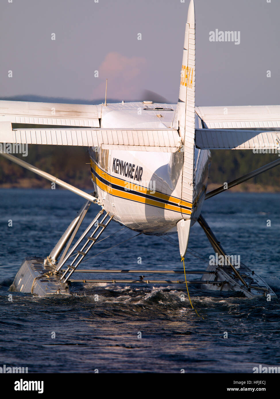 Turbine Otter floatplane taxing for departure at Friday Harbor. The de Havilland Canada DHC-3 Otter is a single - Stock Image