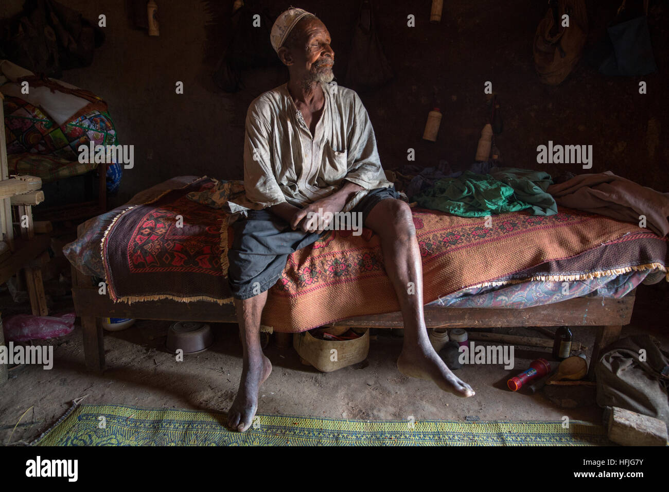 The chief of the village (sotikèmon), Nankouma Condé is 115-120 years old and is the oldest person in - Stock Image