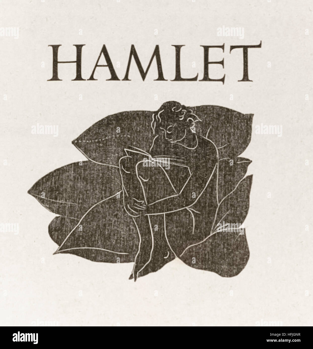Title page from 'Hamlet' by William Shakespeare (1564-1616) featuring a woodcut by Eric Gill (1882-1940). See description - Stock Image