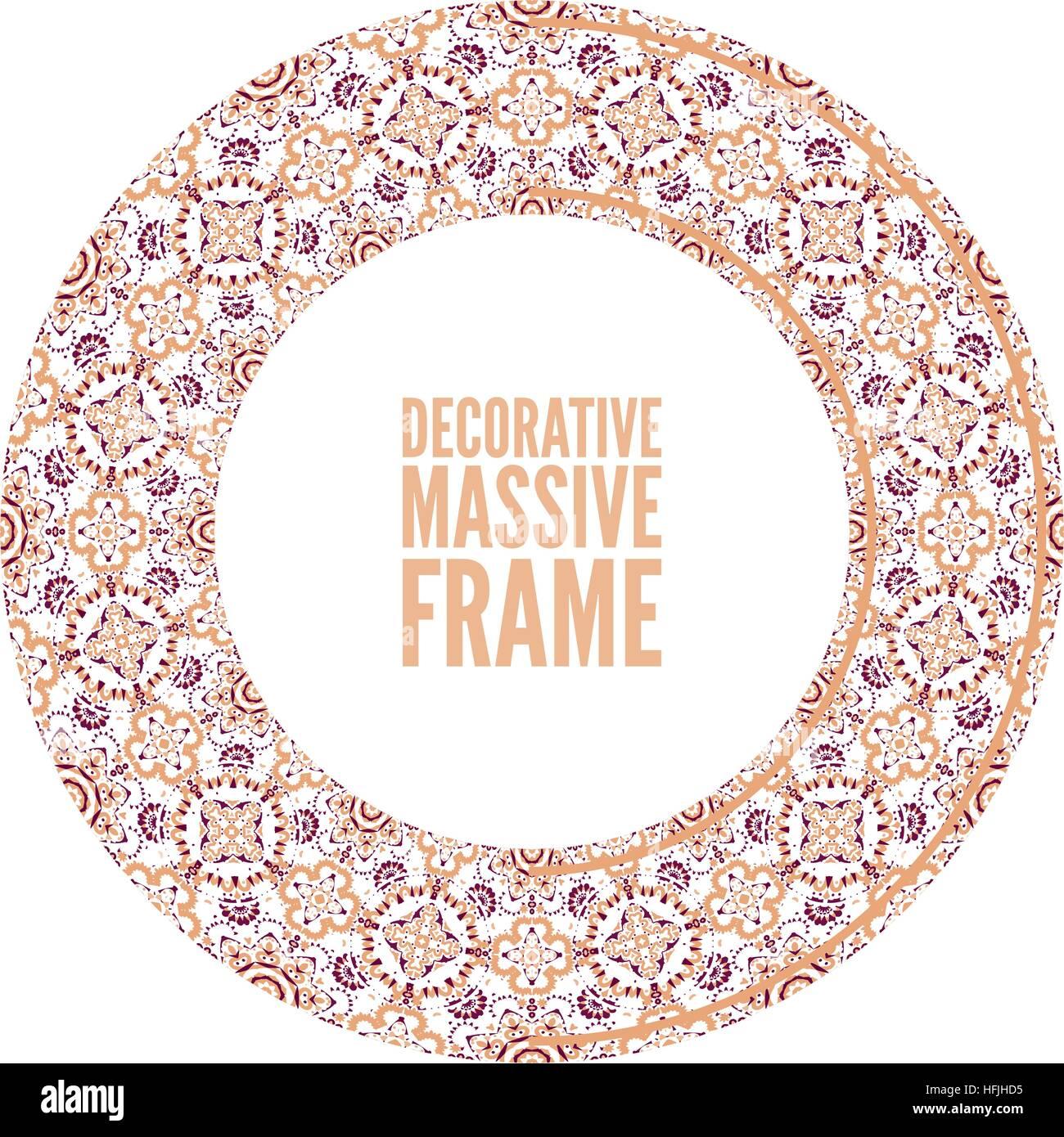 Decorative ornate round frame in Victorian style. Ornamental round ...