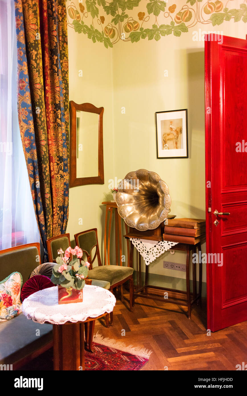 Interior of Musee Art Nouveau, a preserved art nouveau apartment. - Stock Image