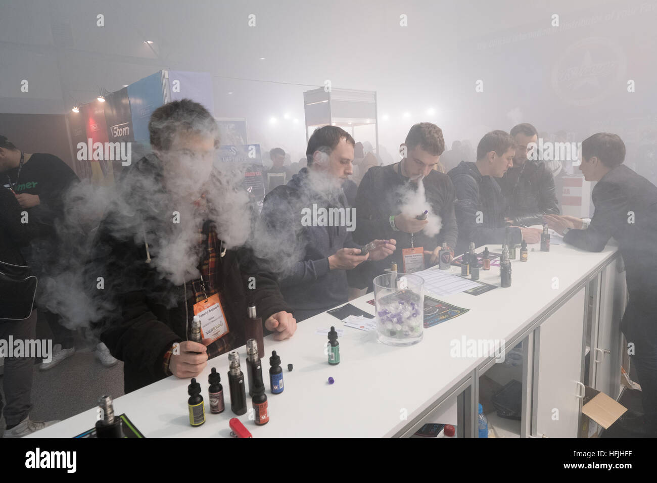 People attend Vapexpo Moscow 2016 exhibition - Stock Image