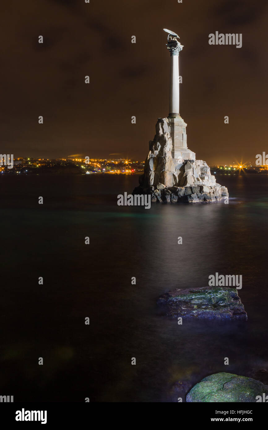 The Monument to the ships scuttled during the siege of Sevastopol  the Crimean War at night - Stock Image