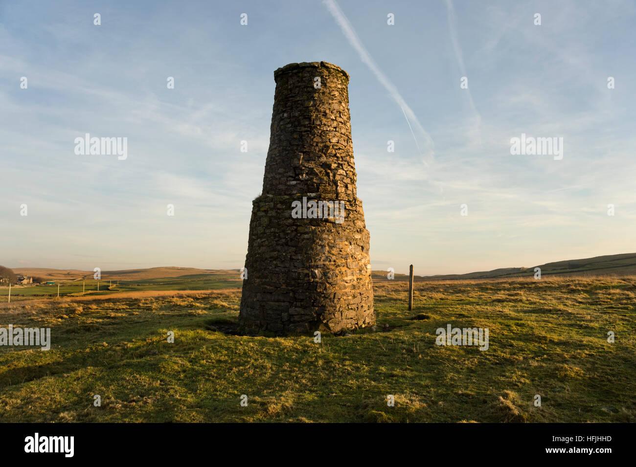Old lead mine smelt chimney, Malham Moor, Yorkshire Dales National Park, UK - Stock Image