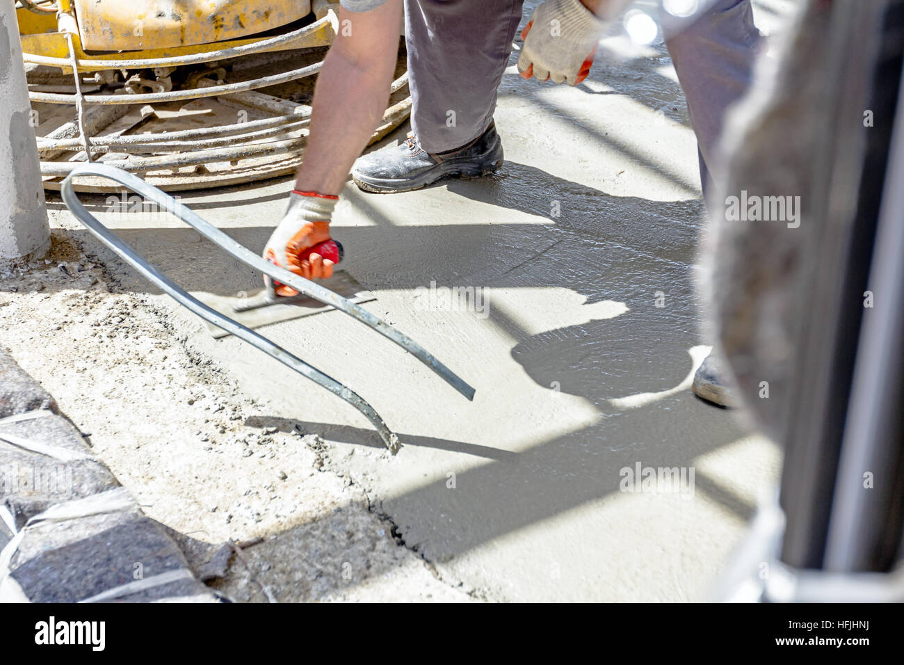 Mason Smooth Cement Screed Trowel Stock Photos & Mason