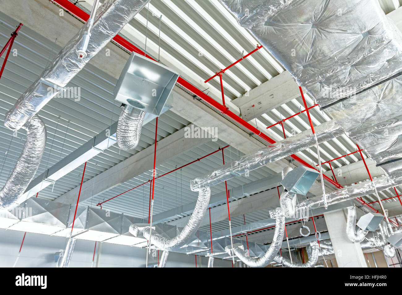 Ventilation Pipes In Silver Insulation Material And Fire