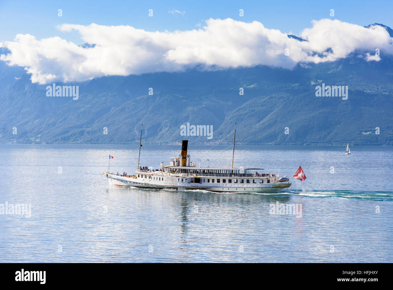 The Belle Epoque paddle steamer La Suisse leaves, Lausanne on Lac Leman, Switzerland Stock Photo