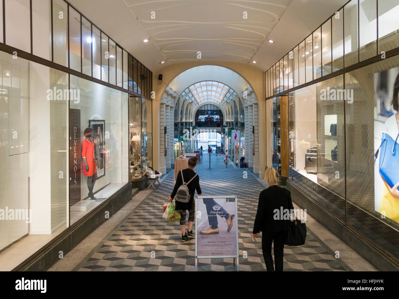 Shops inside the shopping arcade of Galleries Saint-François, Lausanne, Vaud, Switzerland - Stock Image