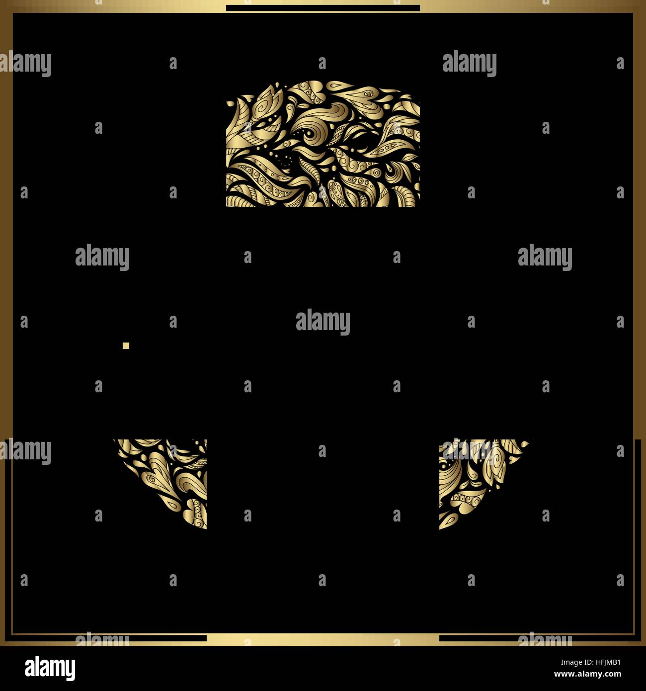Gold round frame on black background vector floral decoration made vector floral decoration made from swirl shapes greeting invitation card simple decorative black and gold illustration for print web stopboris Image collections