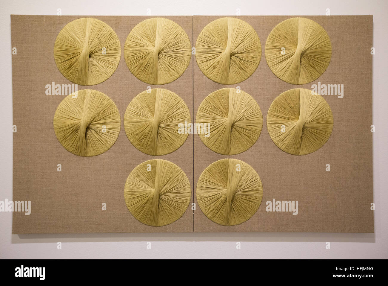 sheila hicks tapestries silk medallions beehives ford foundation - Stock Image