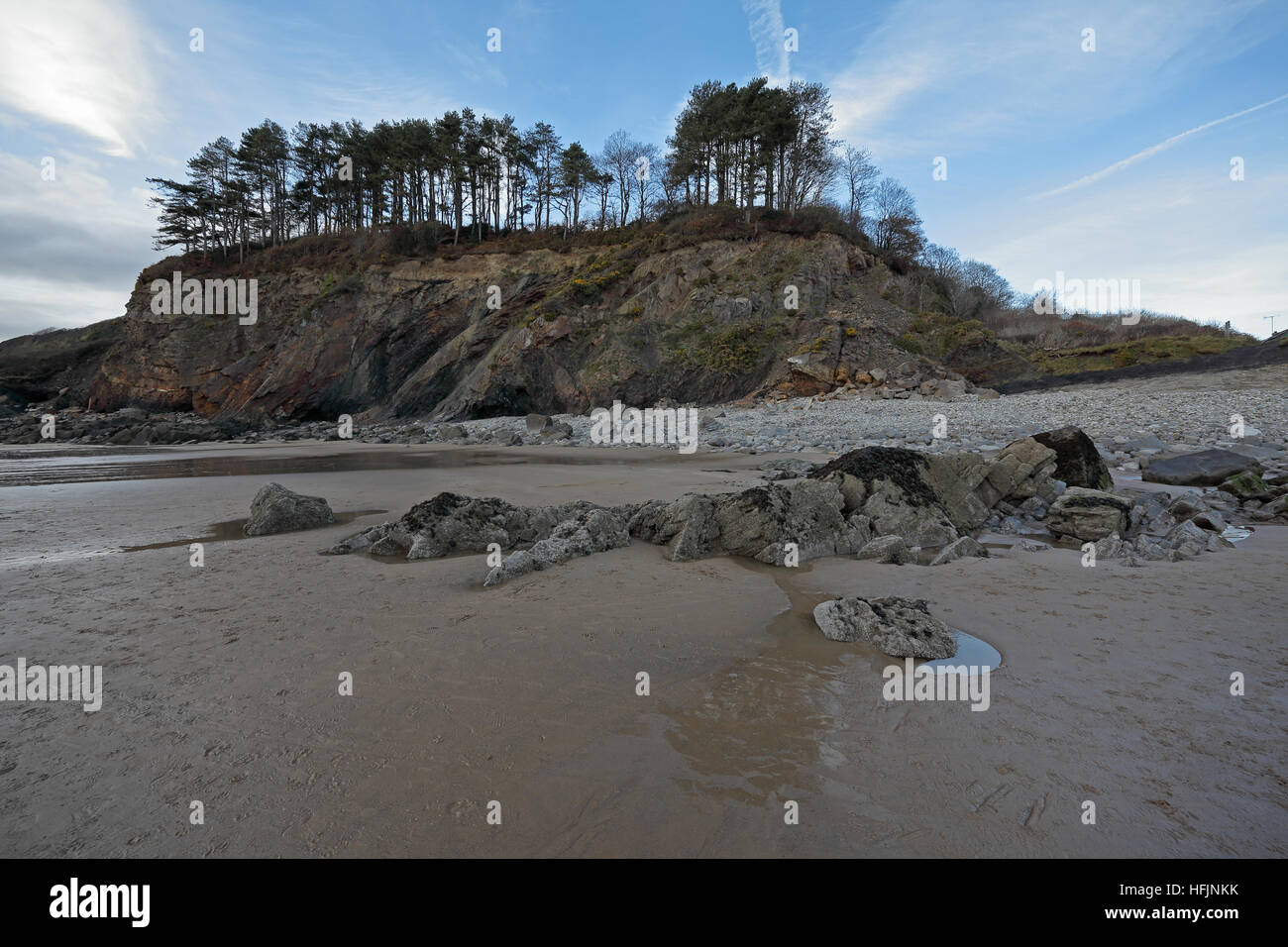 From the beach looking towards a rocky cliff with mature fir trees on top and banks sloping down on either side - Stock Image