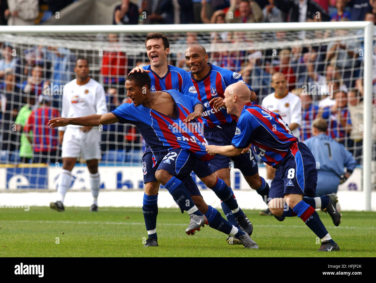 Wayne Routledge celebrates after scoring a goal on debut for Crystal Palace 2002 - Stock Image