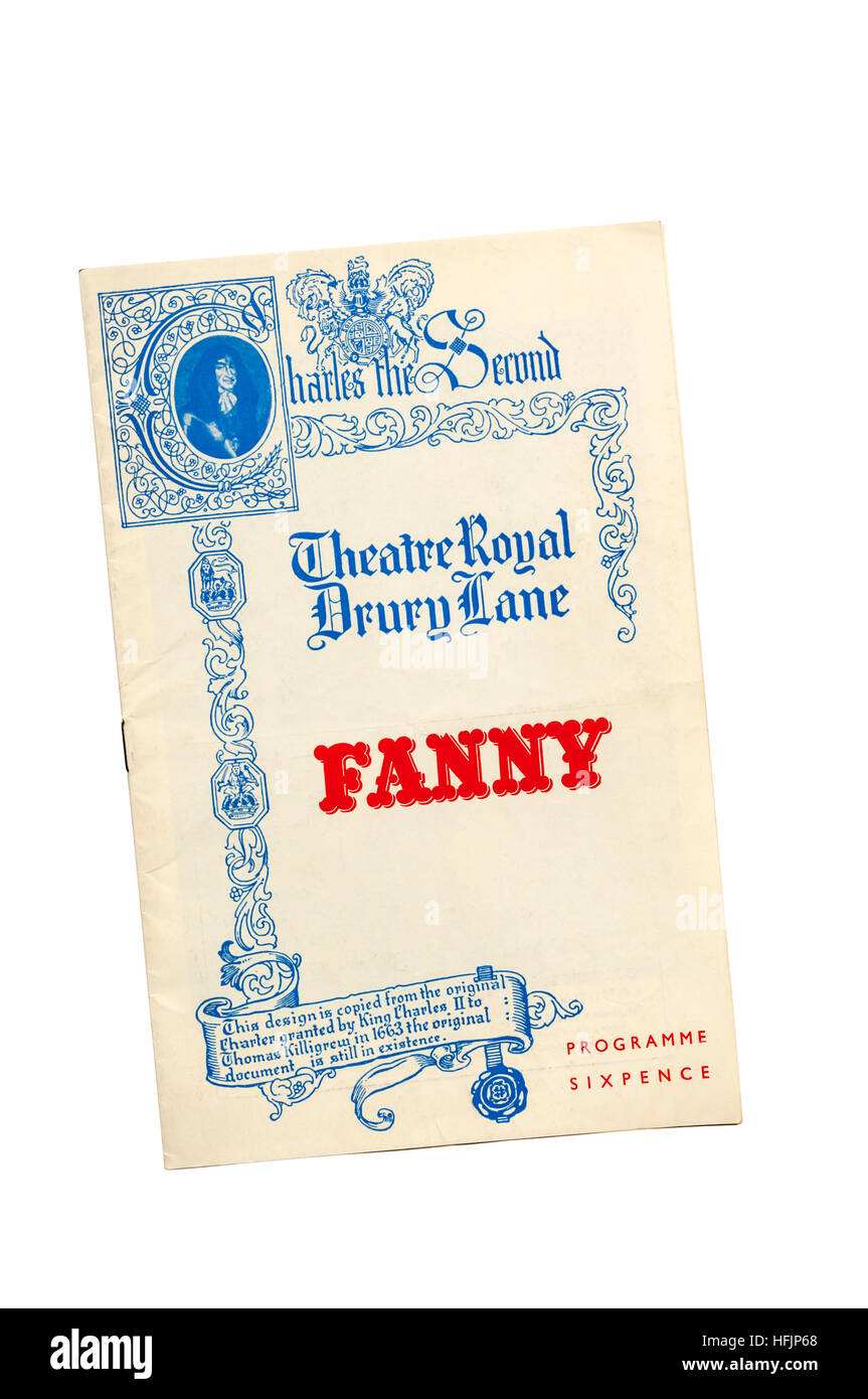 Programme for the original 1956 production of Fanny at the Theatre Royal, Drury Lane.  Starring Robert Morley and - Stock Image