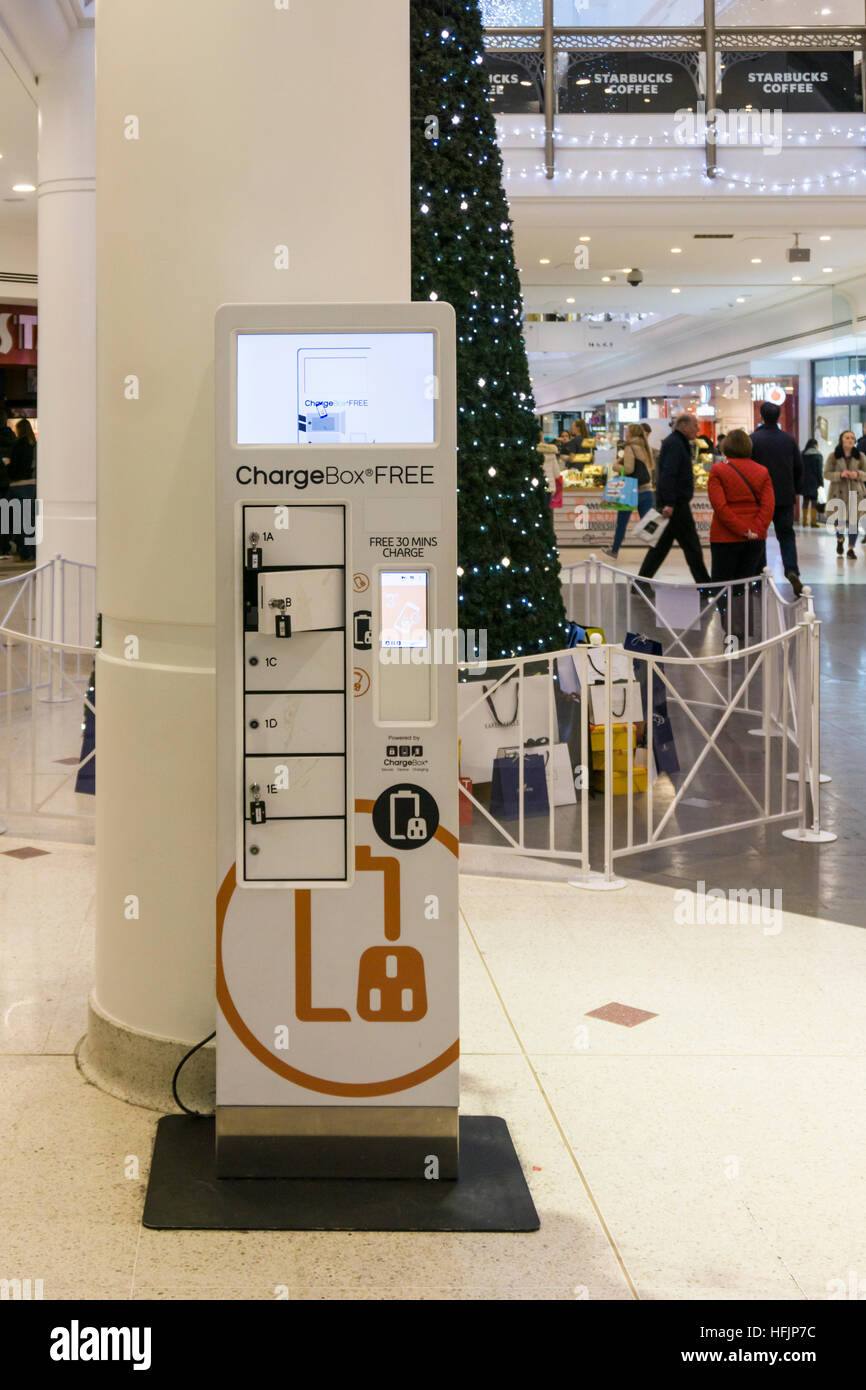 ChargeBox free mobile 'phone charging point in The Glades shopping centre, Bromley. - Stock Image
