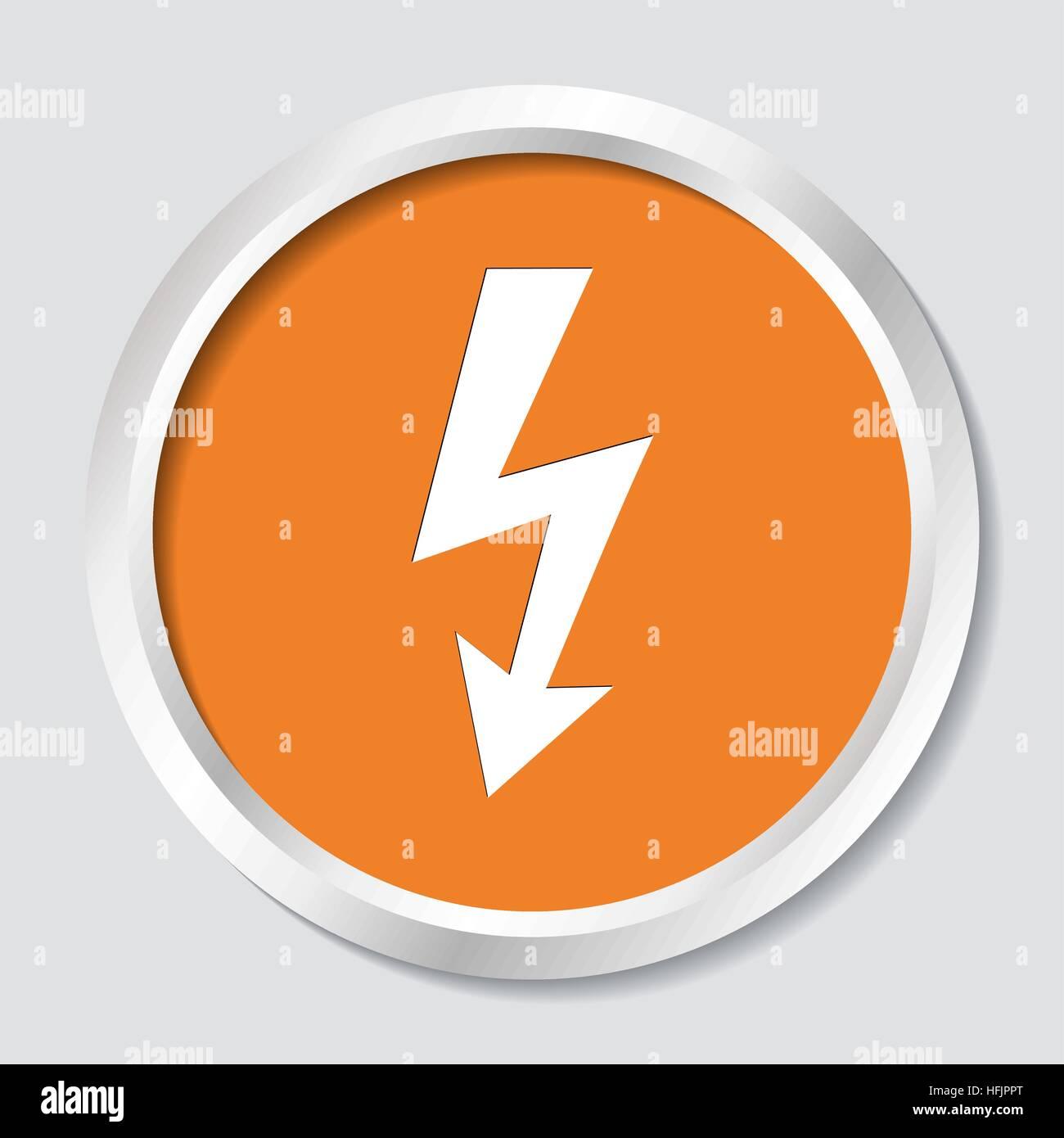 White Vector High Voltage Symbol On Orange Button Stock Vector Art
