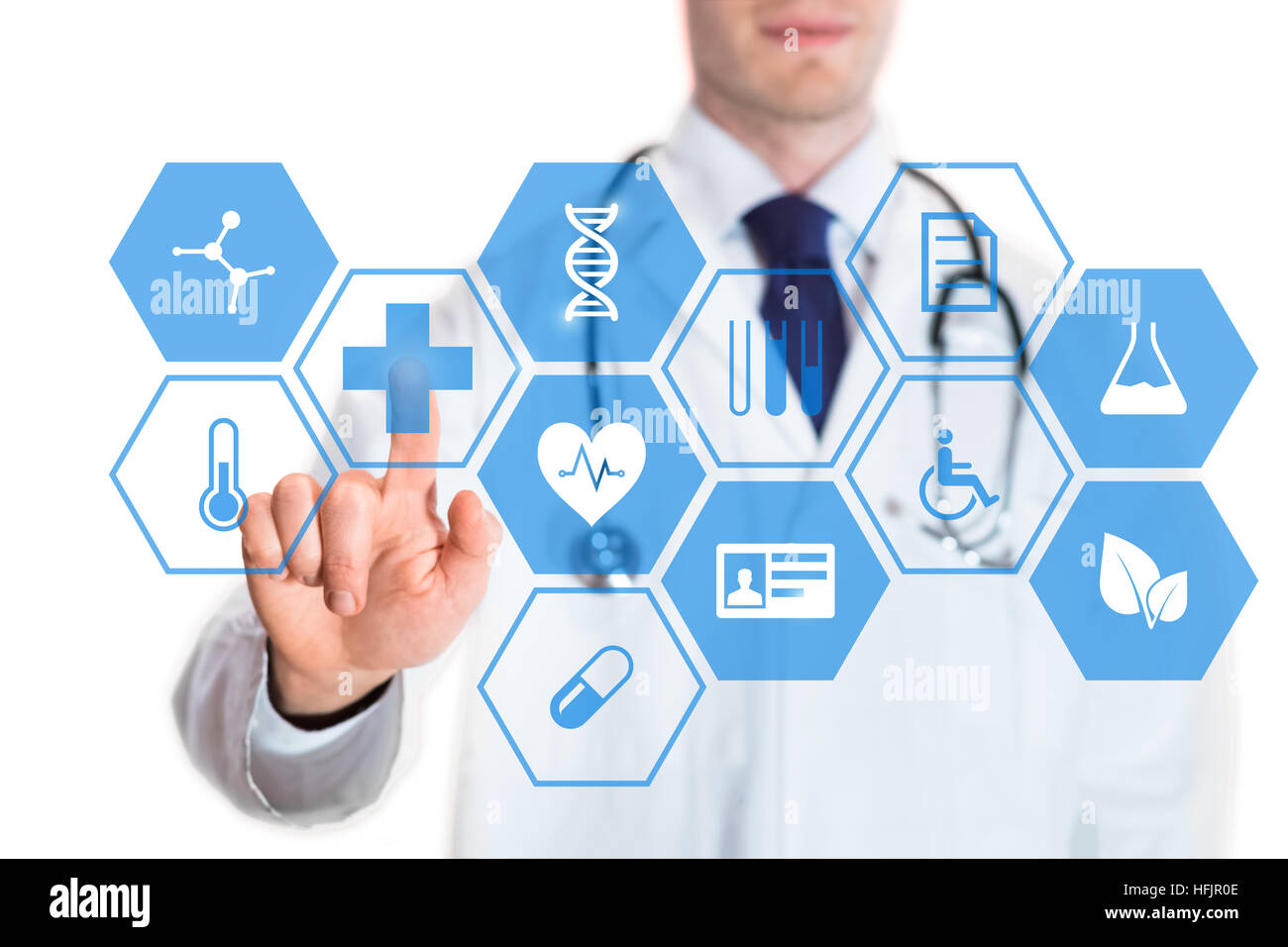 medical doctor touching virtual interface button of healthcare stock