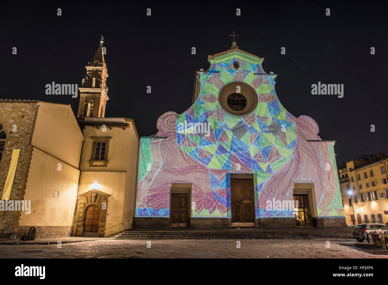 Firenze, Tuscany. The church of Santo Spirito illuminated by the magic lights and colors of the event 'Firenze - Stock Image