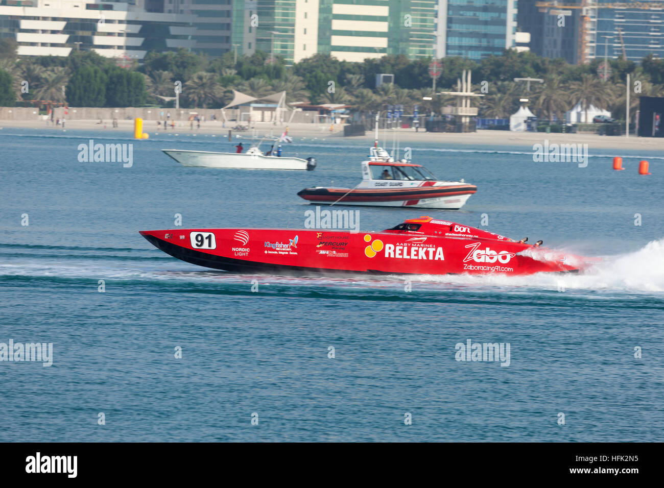 Red racing boat at the Powerboat Championship 2016 in Abu Dhabi - Stock Image
