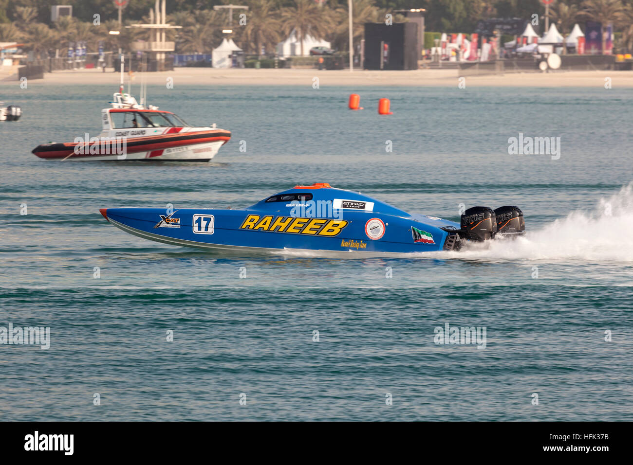 Kuwait Racing Team boat at the Powerboat Championship 2016 in Abu Dhabi - Stock Image