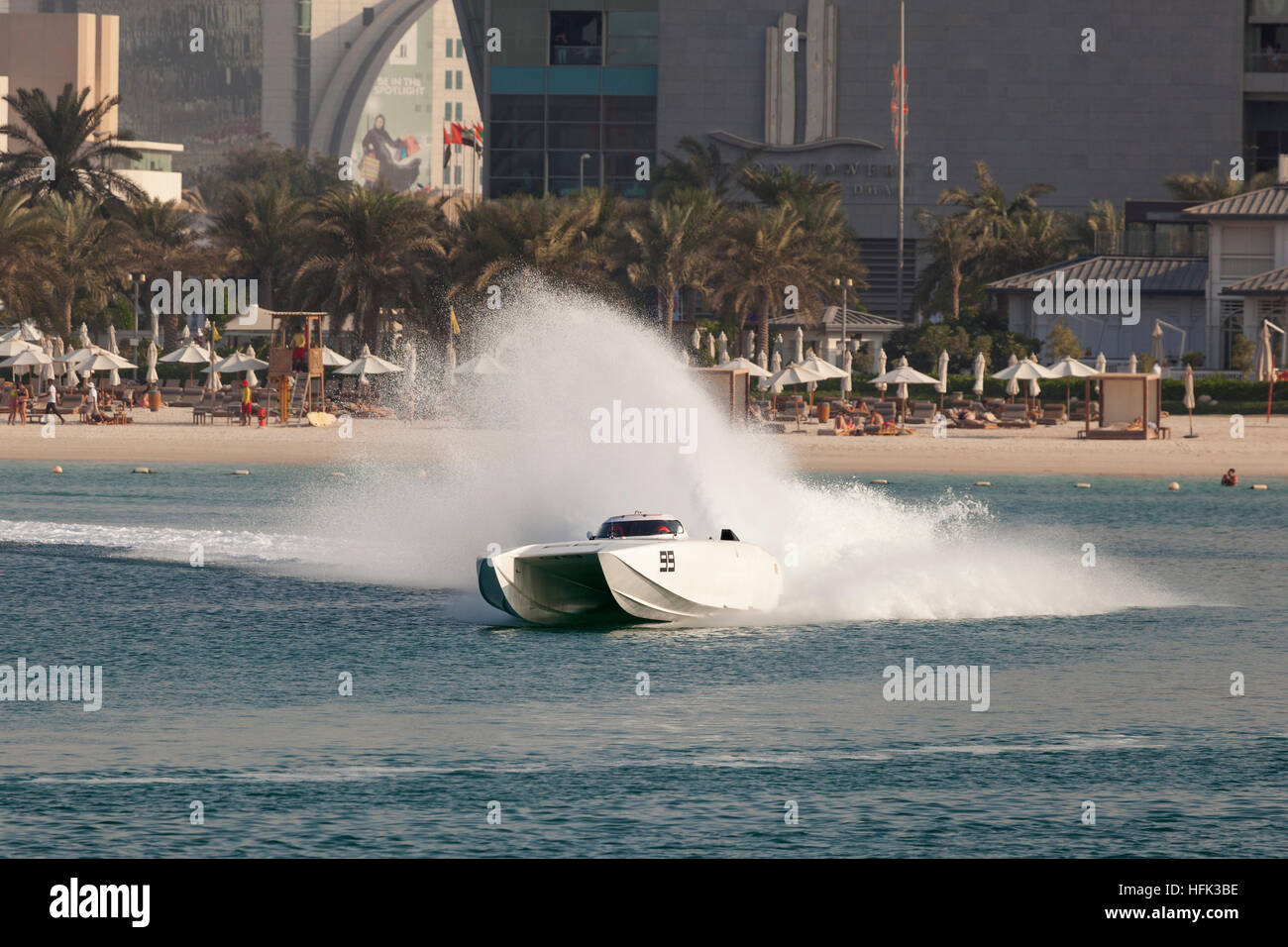 White racing boat at the Powerboat Championship 2016 in Abu Dhabi - Stock Image