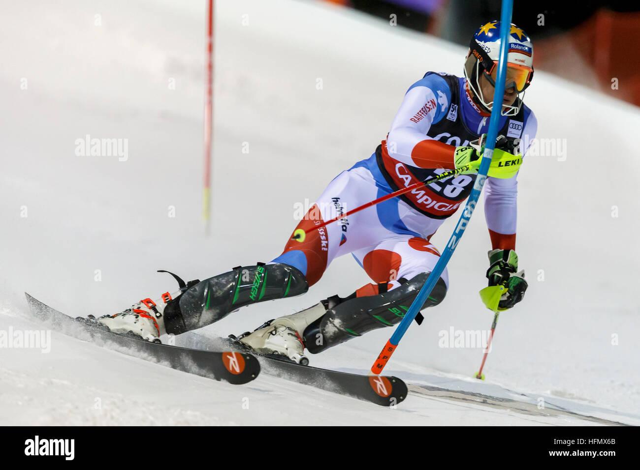 Madonna di Campiglio, Italy 22 December 2016.  ZENHAEUSERN Ramon (Swi) competing in the Audi Fis Alpine Skiing World - Stock Image