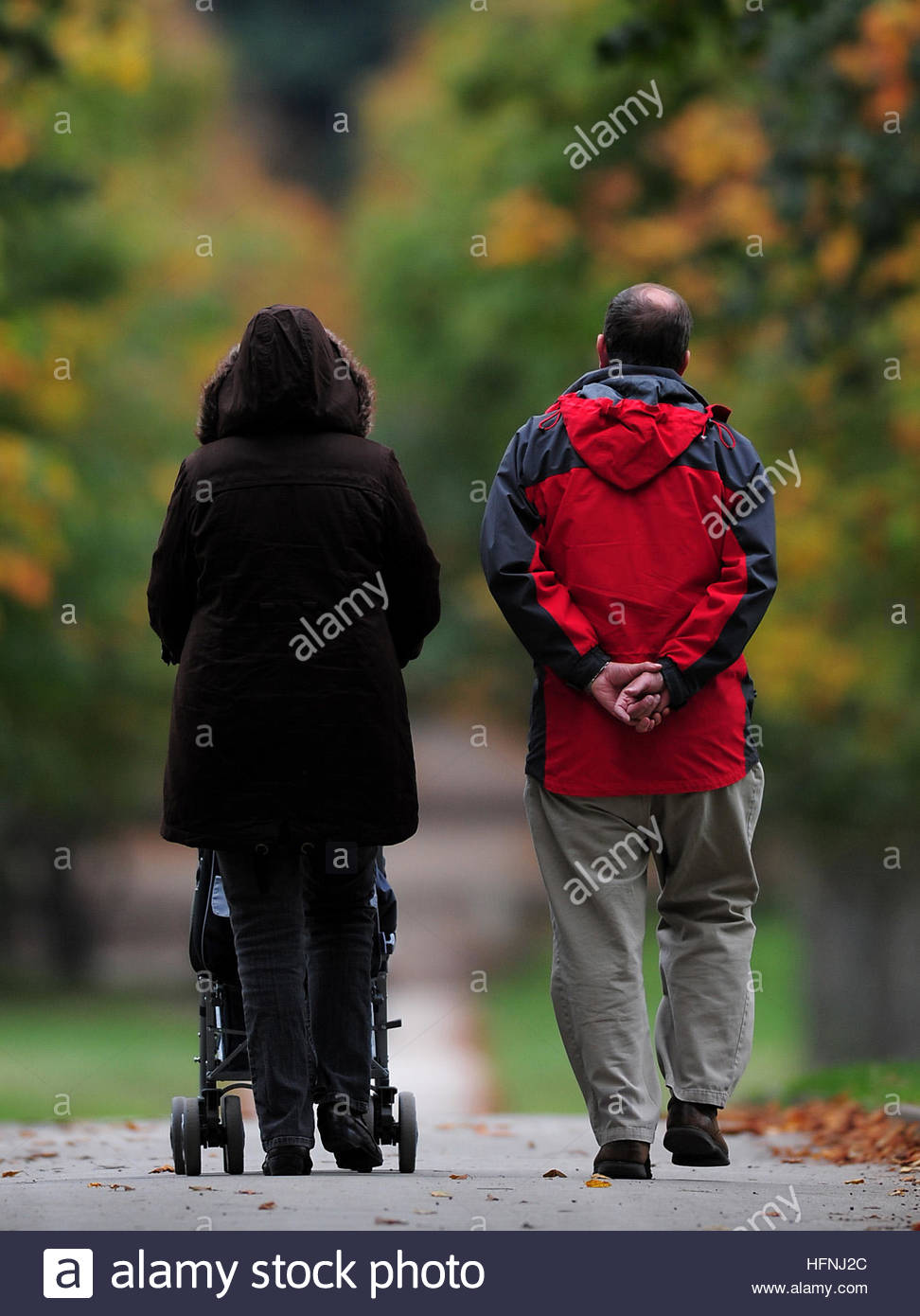 File photo dated 13/10/10 of a family going for a walk in Wollaton Park in Nottingham, as spending time with family Stock Photo