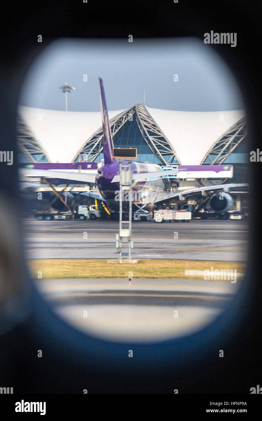 View of Suvarnabhumi airport from aeroplane window, Bangkok, Thailand - Stock Image