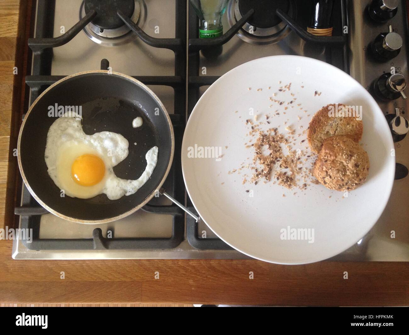 Toast and eggs - Stock Image