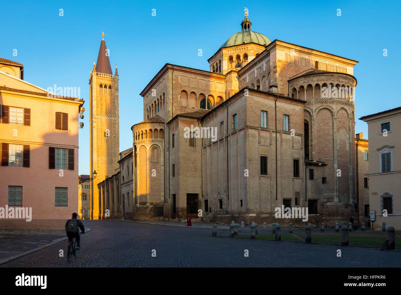 Sunrise over the Duomo, Parma, Emilia-Romagna, Italy - Stock Image