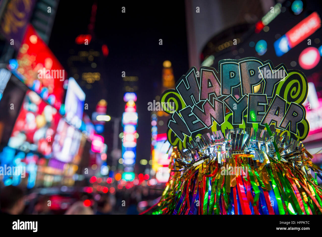 happy new year 2017 party hat celebrating in times square new york city
