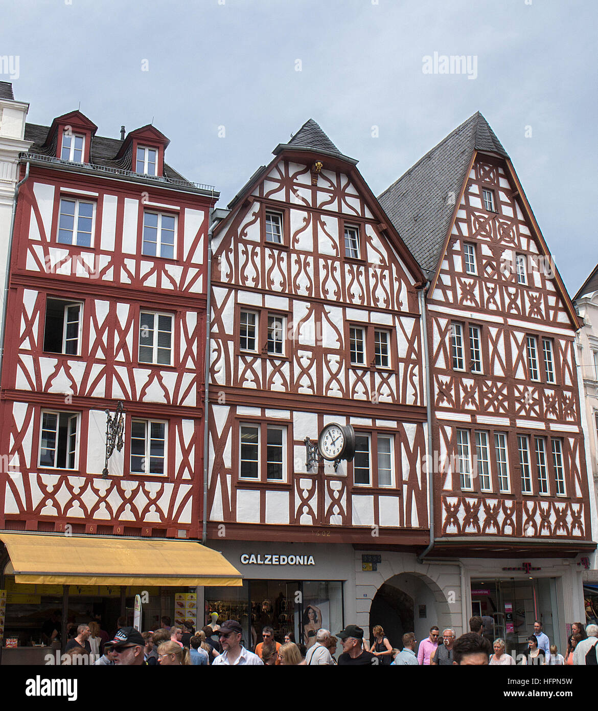 Half-timbered buildings in Trier, Germany - Stock Image