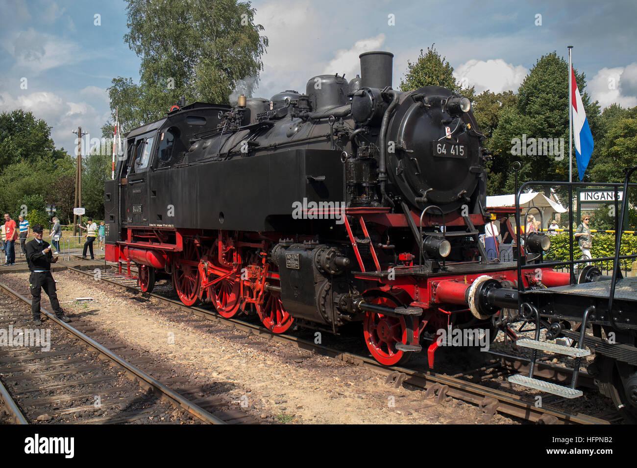 Steam locomotive 64 415 at Beekbergen, Netherlands, at VSM train Festival September 2016 - Stock Image