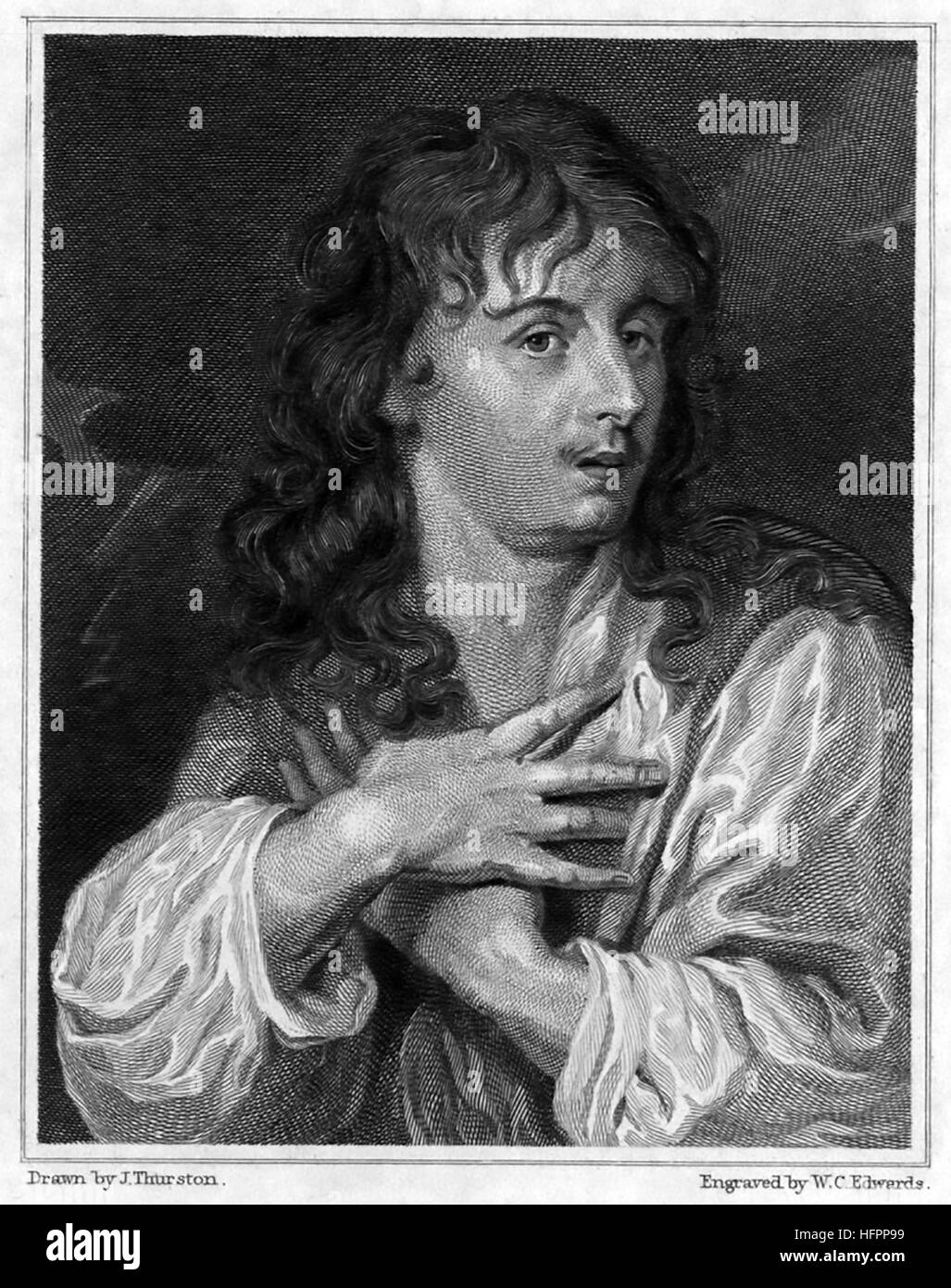 """JOHN OGILBY (1600-1676) Scottish cartographer who published the first British road atlas """"Britannia"""" in 1675. An Stock Photo"""