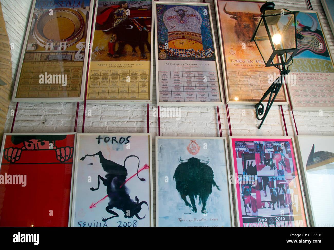 Seville season posters at Seville Bullring.Plaza de toros de la Real Maestranza de Caballería de Sevill - Stock Image