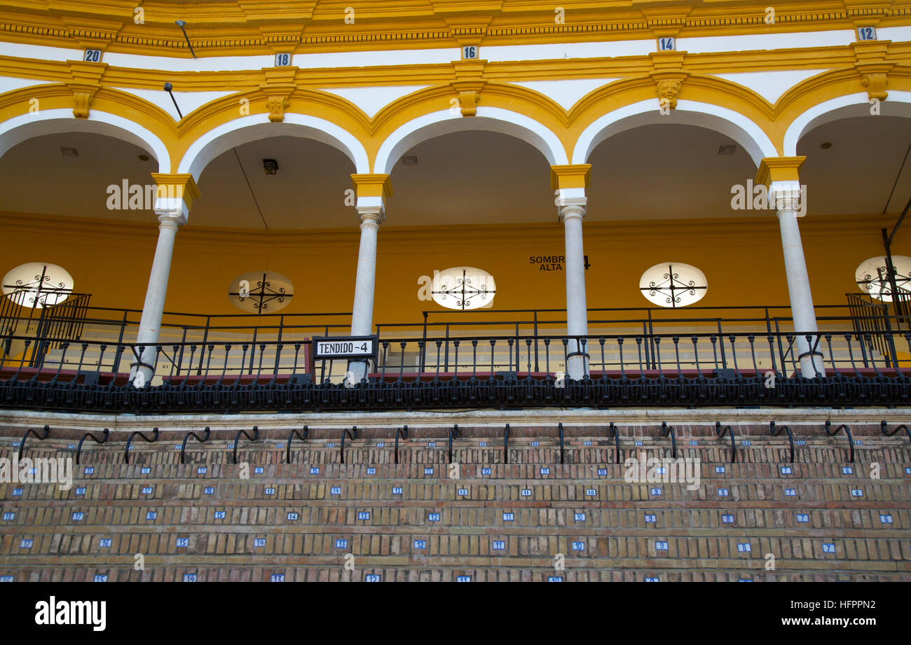 Seville season posters at Seville Bullring. - Stock Image