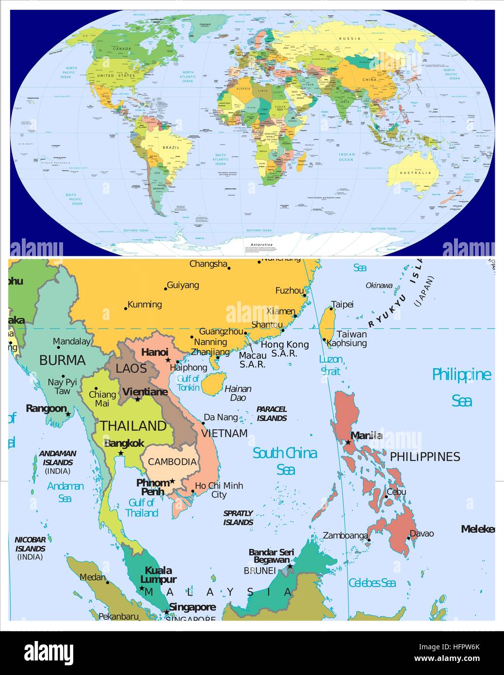 Map Of Thailand And Philippines Burma Laos Thailand Cambodia Vietnam Philippines and World Stock