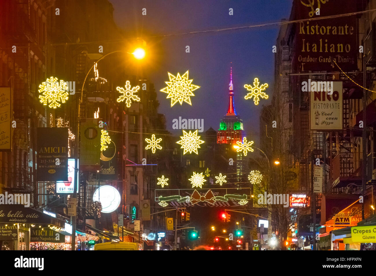 Empire State Build with Christmas lights as seen from Mulberry Street in New York's Little Italy Stock Photo