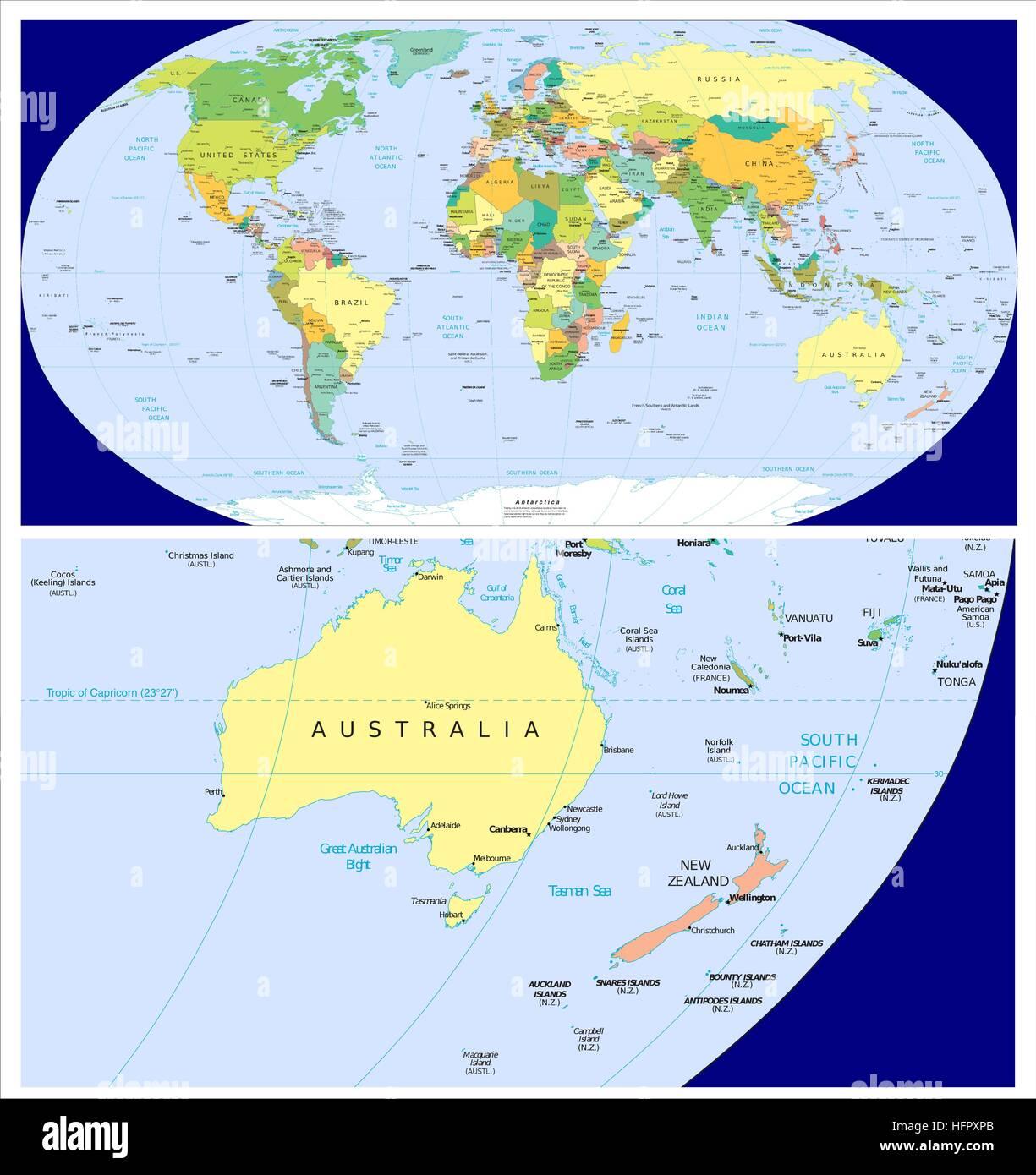 Australia new zealand world stock vector art illustration australia new zealand world gumiabroncs Choice Image