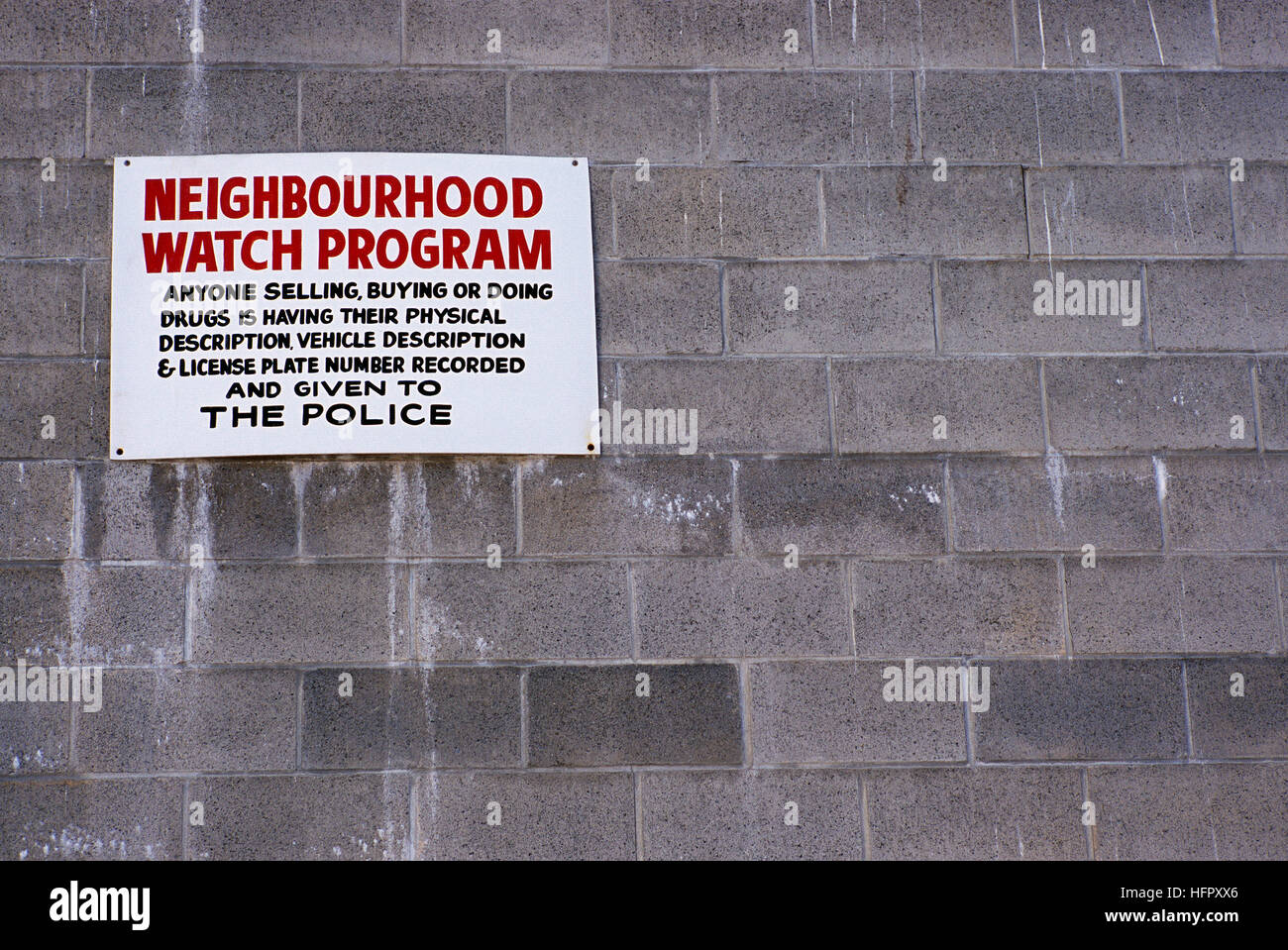 Neighbourhood Watch Program - Warning Sign to Anyone Selling, Buying or Doing Drugs will be reported to Police, - Stock Image