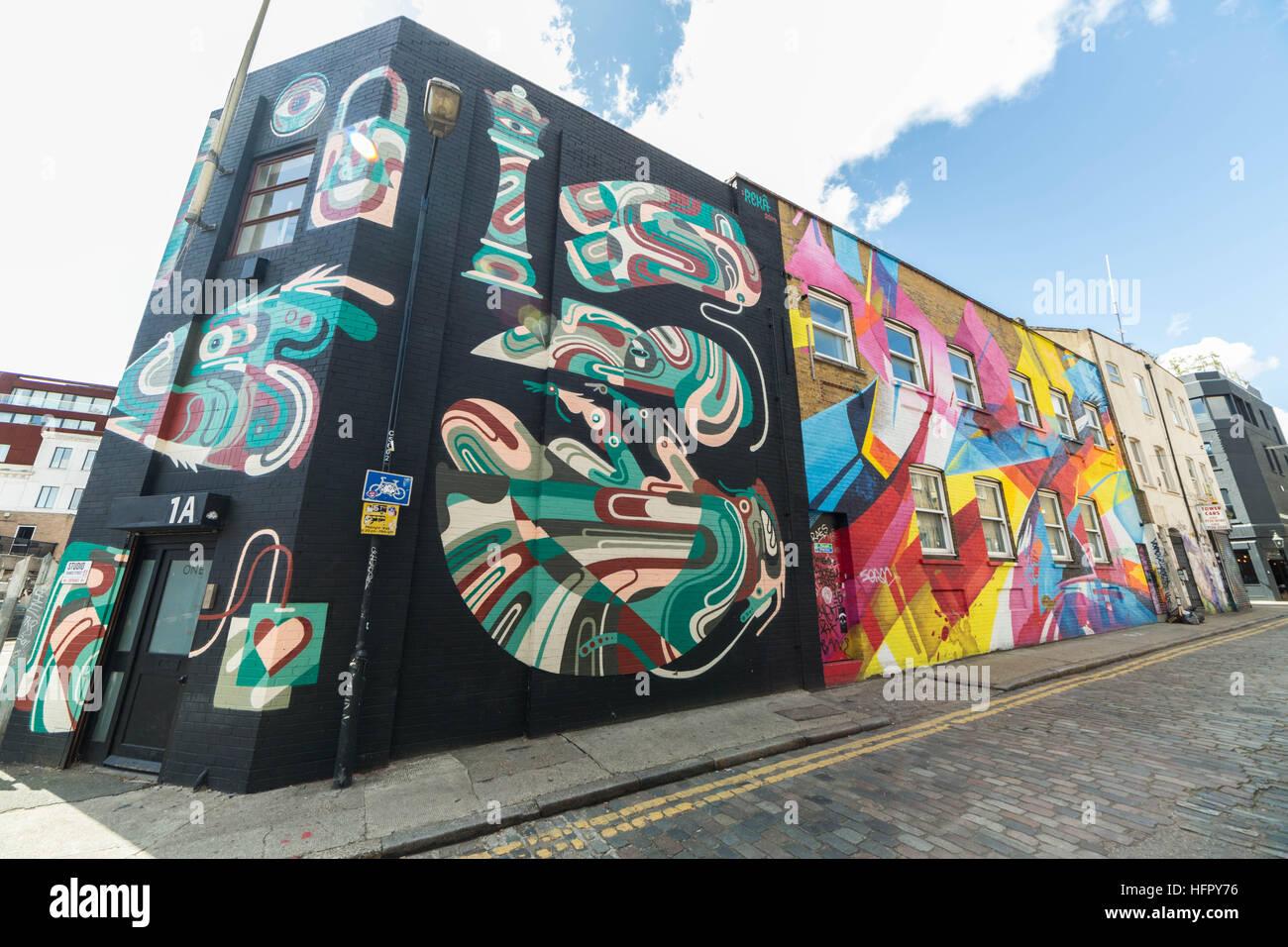 Shoreditch and Brick Lane creative graffiti and social art in east London, UK Stock Photo